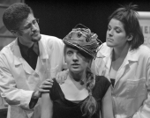 "Seann Murray, Zita Nyarady, and Jennifer Roberge-Renaud in ""A Dog! A Panic in a Pagoda"" 2005 One Act by Jill Connell (photo: Stephen Moss)"