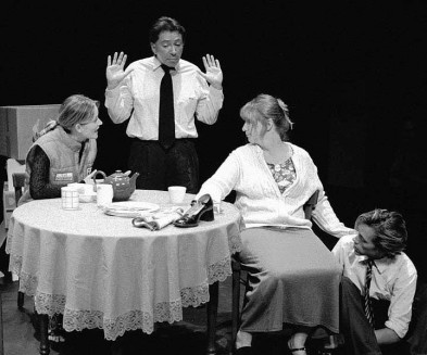 """Brent Dawes, Michelle Daigle, Meghan Mesheau and Andrew Jones in """"Burnt Offerings"""" 2003 One Act by Sherry Coffey & Ian LeTourneau (photo: Stephen Moss)"""