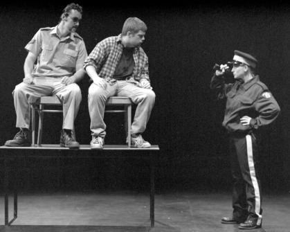 "Ryan Griffith, Nicholas Cole and Vivien Zelazny in ""¿Dónde está mi cerveza?"" 2005 One Act by Patrick Toner (photo: Stephen Moss)"