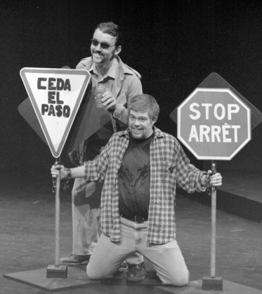 "Ryan Griffith and Nicholas Cole in ""¿Dónde está mi cerveza?"" 2005 One Act by Patrick Toner (photo: Stephen Moss)"