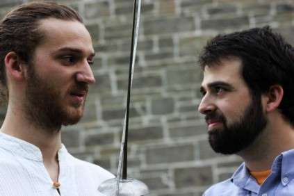 """Kevin Belyea and Jake Martin in """"Jon and Richard Duel for Honour"""", 2015 Site-Specific by Jean-Michel Cliche (Photo: Dani Brun)"""