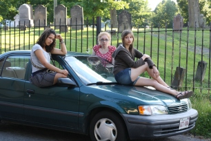 """Juliana Duque, Tilly Jackson and Sam Kamras in """"Eight Expanding Moments or The Abortion: A Canadian Western"""" 2011 Site-Specific by Jill Connell (photo: Sue Fisher)"""