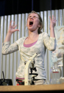 """Hilary Ball in """"Our Mouths Are Filters: Documenting the Brink"""" 2008 One Act by Kathleen Brown (photo: Stephen Moss)"""