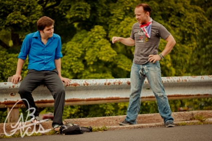 "Andrew Chevarie and Michael Holmes-Lauder in ""Road Dogs"" 2012 Street Theatre by Megan MacKay (photo: Joshua Laplap)"