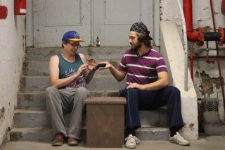 "Brett Loughery and Miguel Roy in ""Someone Gets Shot""2015 Street Theatre by Jake Martin (Photo: Dani Brun)"