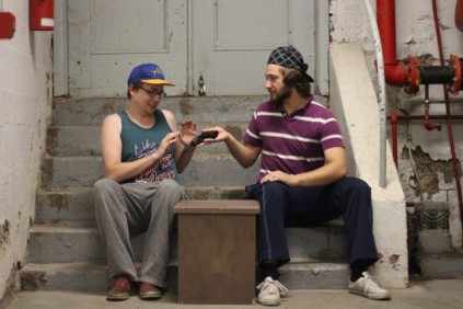 """Brett Loughery and Miguel Roy in """"Someone Gets Shot""""2015 Street Theatre by Jake Martin (Photo: Dani Brun)"""
