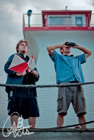 """Stefan Folkins and Tom Fanjoy in """"The Captain"""" 2011 Site-Specific by Jeremy Gorman & Brad O'Donnell (photo: Joshua Laplap)"""