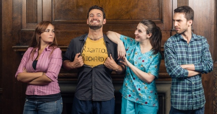 """Kayla-Renée Ossachuk, Ian Goff, Kelsey Hines and Jean-Michel Cliche in """"Jobbers"""", 2014 One-Act by Jeff Lloyd (photo: Alex Donovan)"""