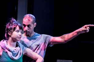 """Crystal Chettiar and Devin Luke in """"The Lye Sandwich"""", 2014 One-Act by Clarissa Hurley (photo: Michael Holmes-Lauder)"""