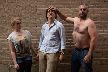 """Cora Jackson, Andreas Marquis and Ian Murphy in """"The Pugilist"""", 2014 Site-Specific by Jake Martin (photo: Sue Fisher)"""