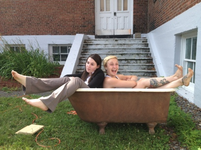 """Kelsey Hines and Lee Thomas, in """"Tubmates"""", 2014 Street Theatre by Gordon Mihan (photo: Jean-Michel Cliche)"""